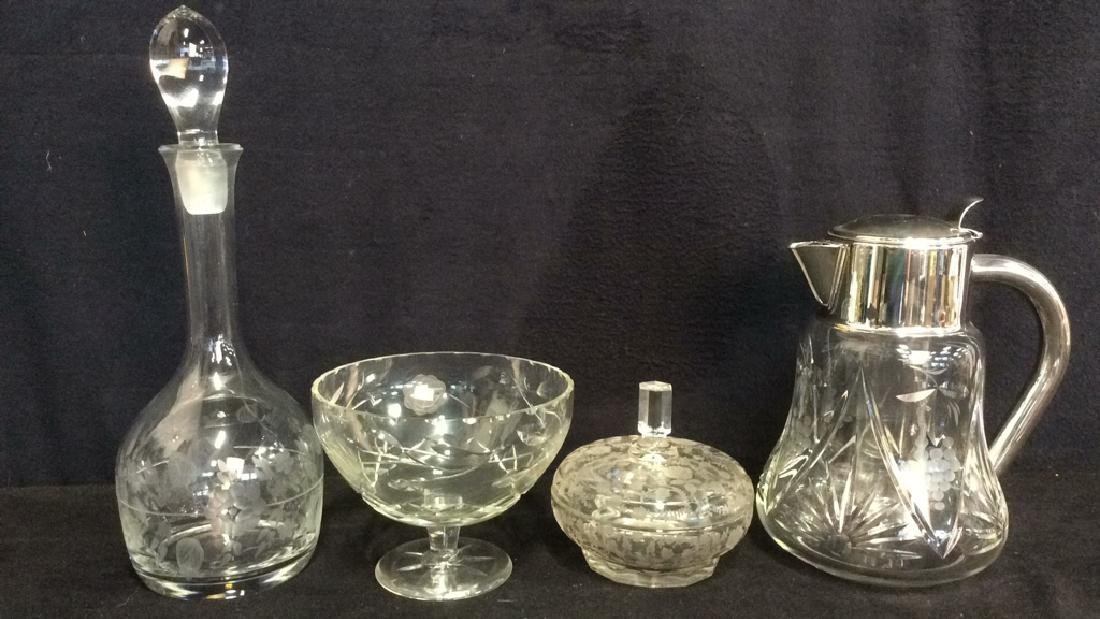 Lot 4 Glass & Crystal Tabletop Accessories