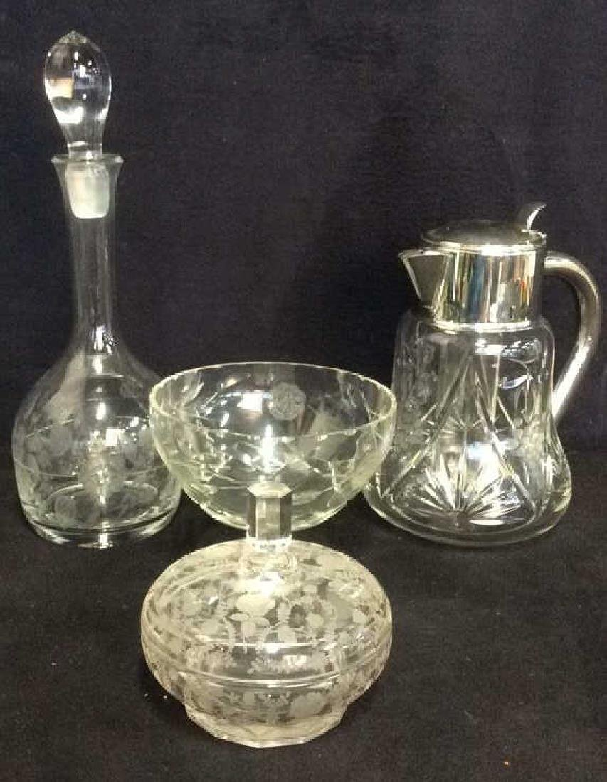 Lot 4 Glass & Crystal Tabletop Accessories - 2