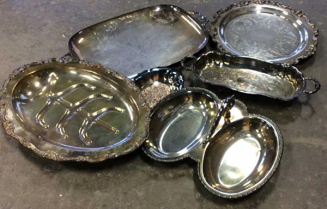 Group Lot Silver Plate Serving Dishes