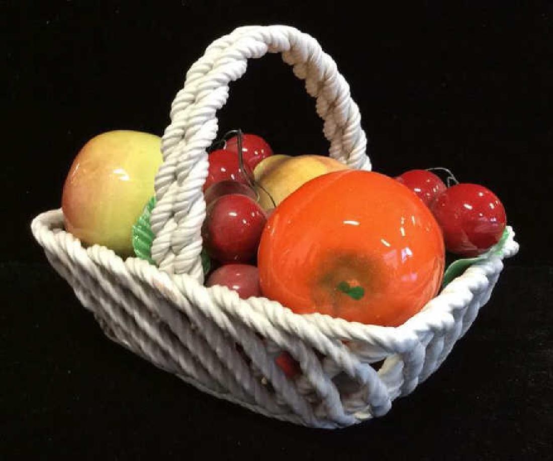 Trompe Loeuil Porcelain Fruit in Basket