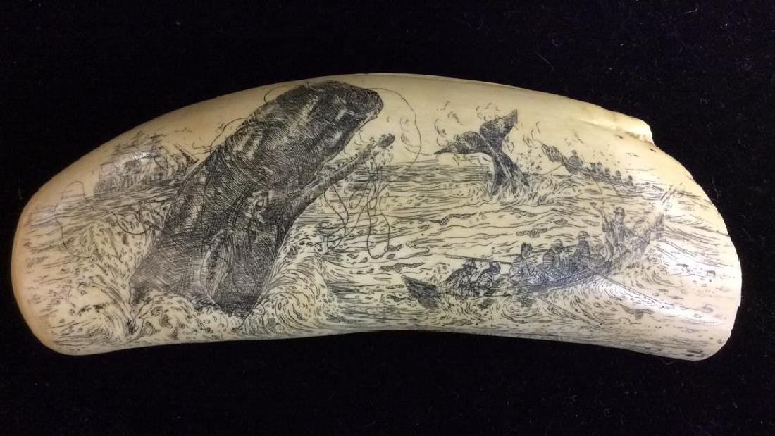 Faux Ivory Whale Tooth Scrimshaw Signed Artec