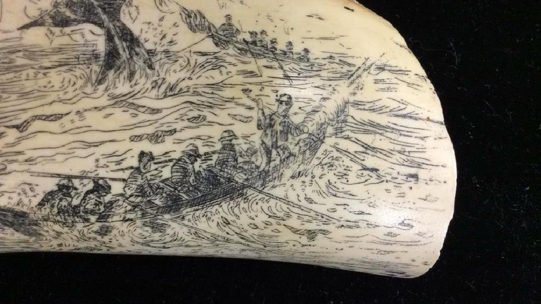 Faux Ivory Whale Tooth Scrimshaw Signed Artec - 5