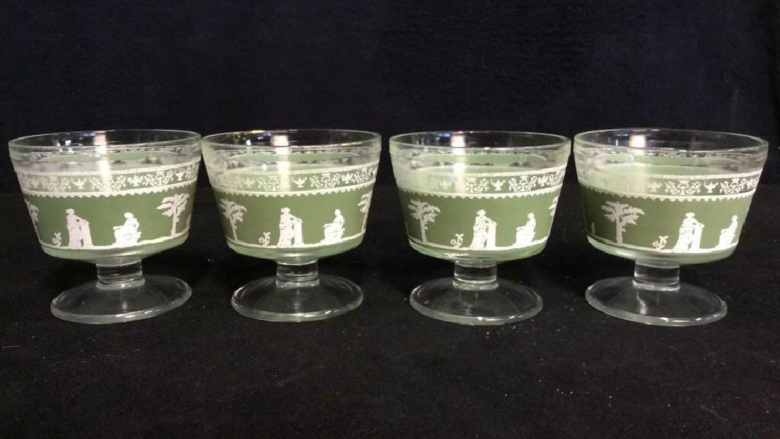 Lot 4 Glass & Wedgwood Like Dessert Cups