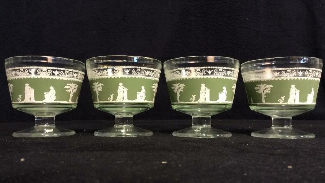Lot 4 Glass & Wedgwood Like Dessert Cups - 2