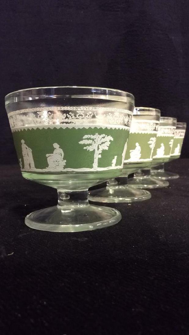 Lot 4 Glass & Wedgwood Like Dessert Cups - 3