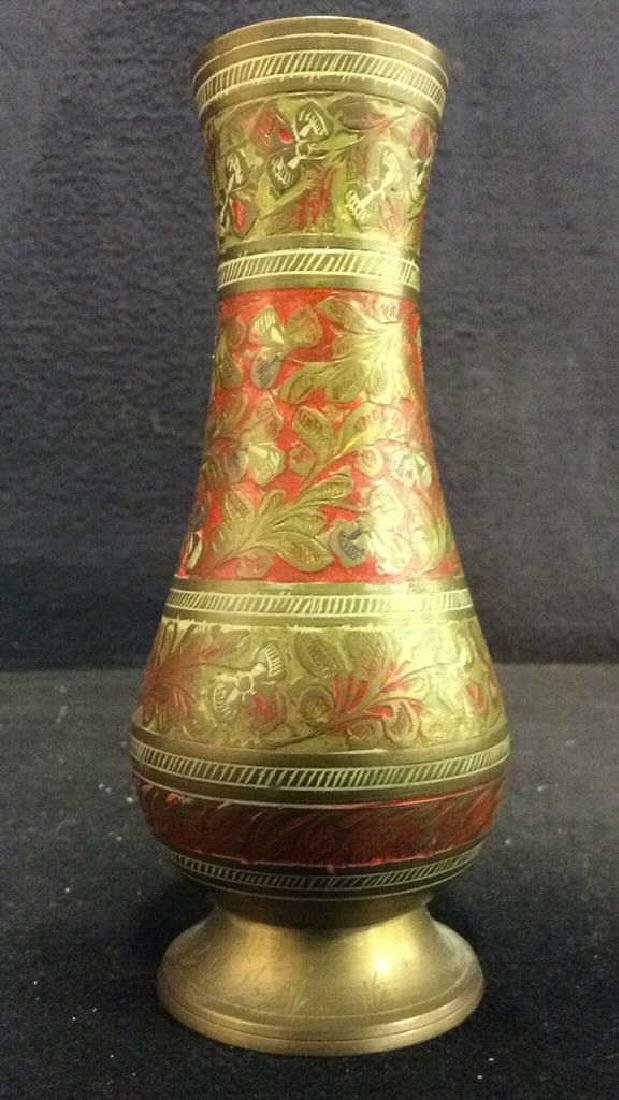 Gold & Red Toned Brass Footed Vase