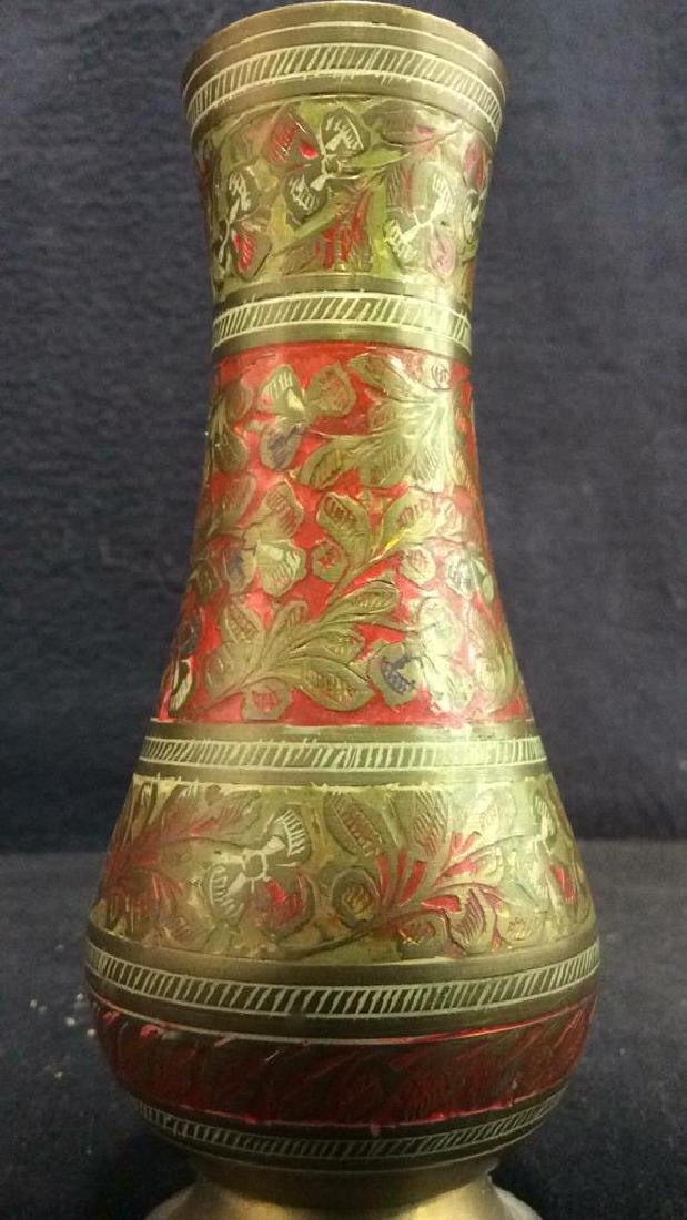 Gold & Red Toned Brass Footed Vase - 4