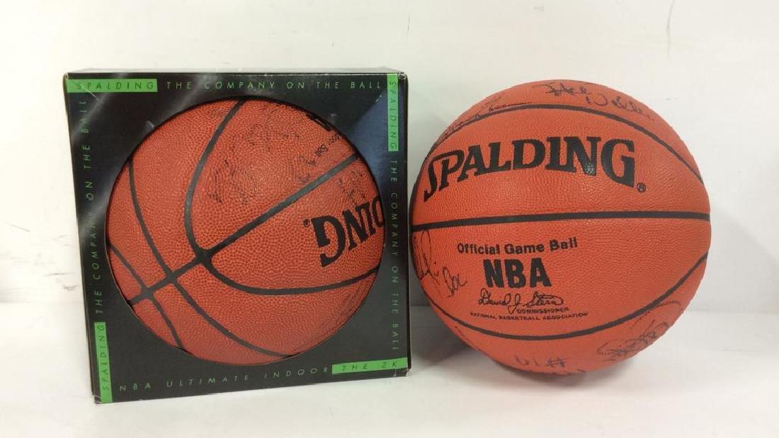 Pair Signed NBA SPALDING Basketballs