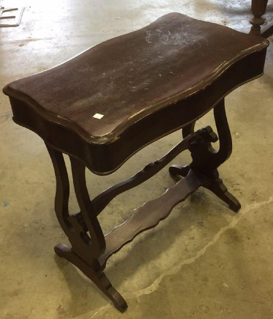 Vintage Mahogany Scalloped End Table - 6