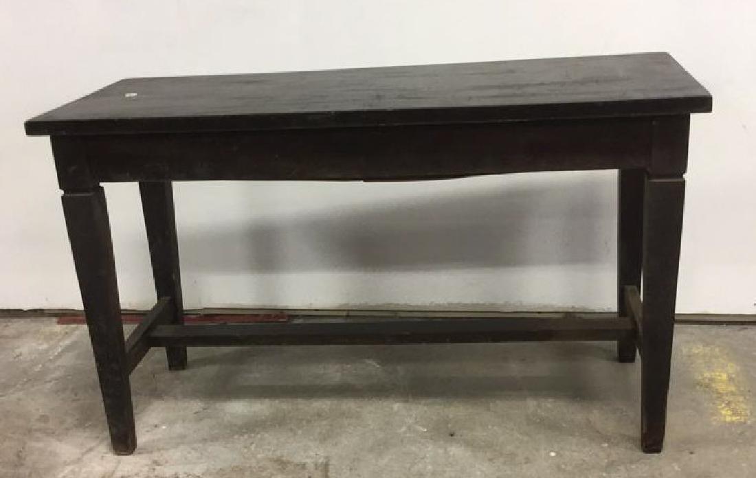 Vintage Dark Toned Wood Piano Bench - 2