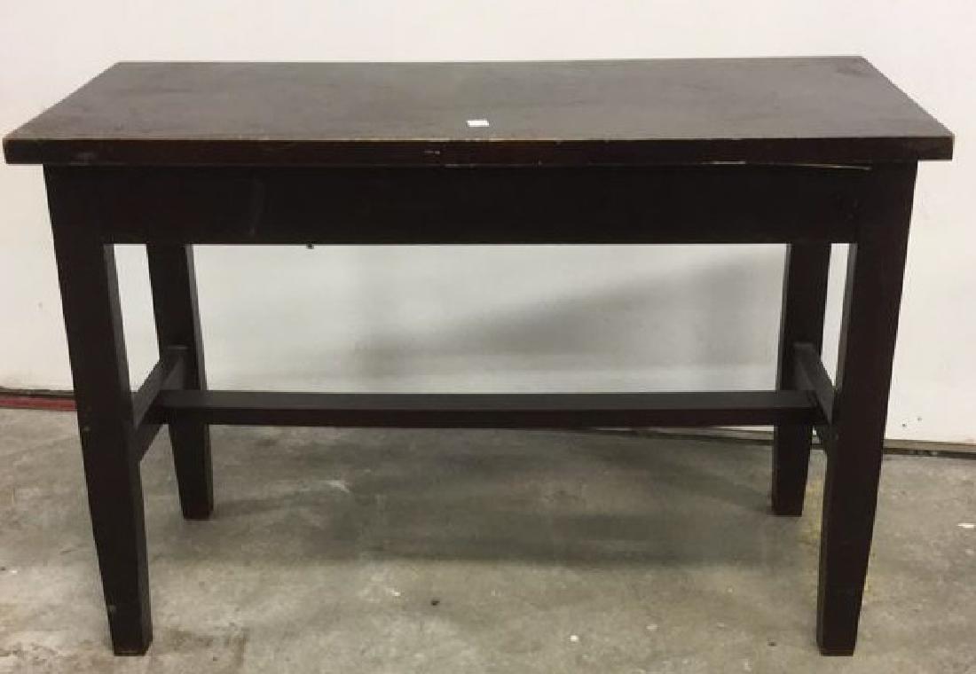 Vintage Dark Wood Toned Piano Bench - 2