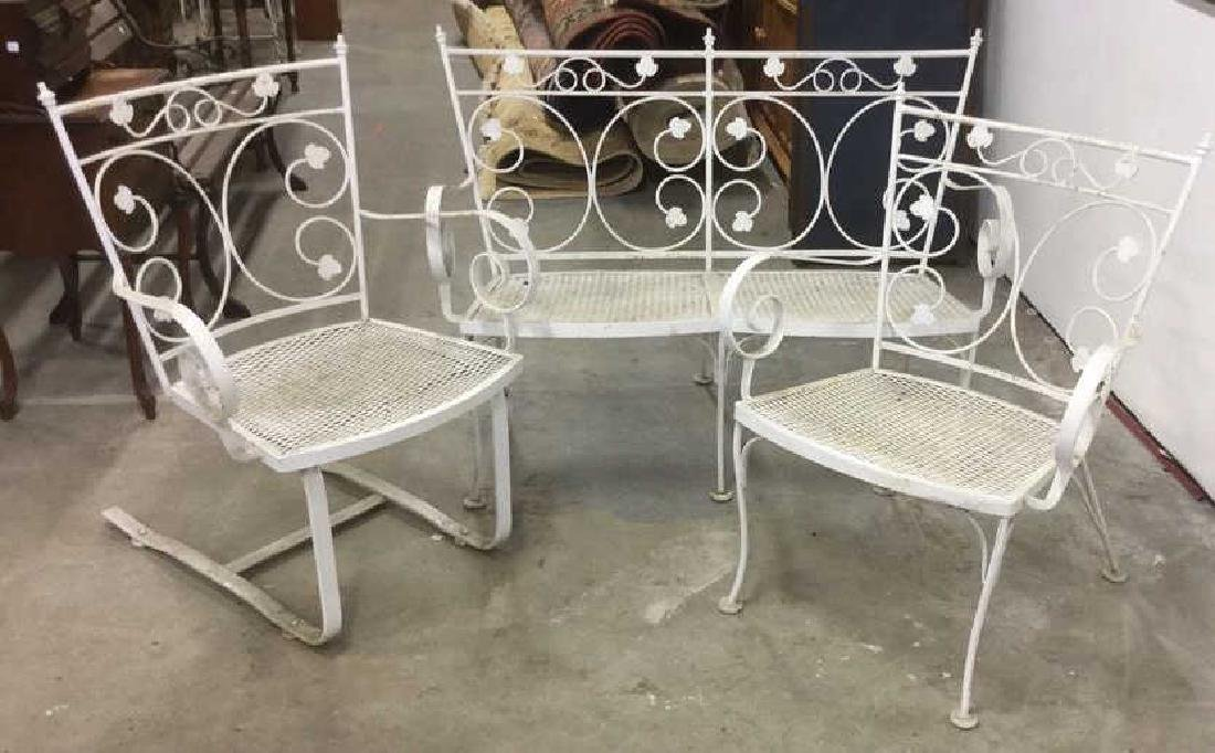 Vintage 3 Pcs White Scrolled Iron Metal Patio Set