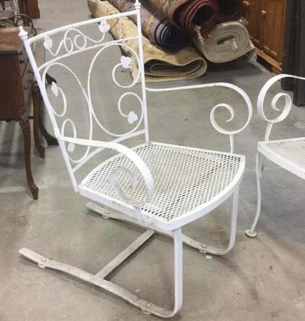 Vintage 3 Pcs White Scrolled Iron Metal Patio Set - 3