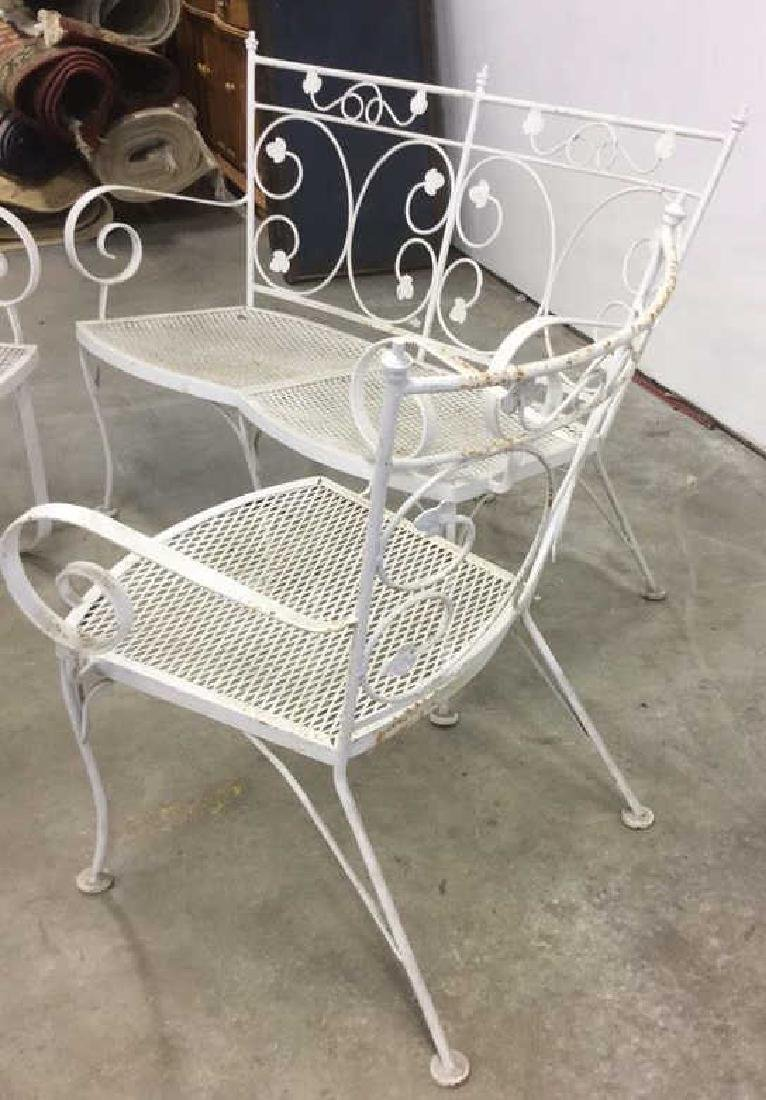 Vintage 3 Pcs White Scrolled Iron Metal Patio Set - 4
