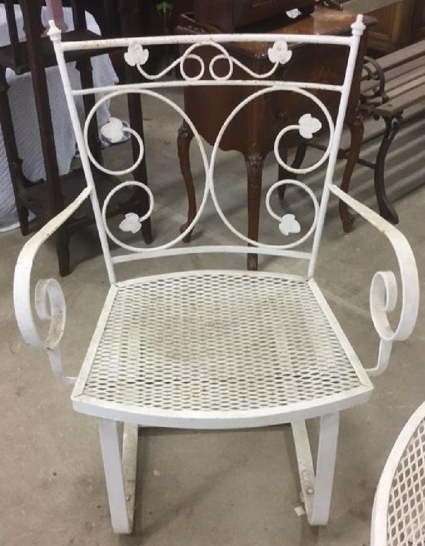 Vintage 3 Pcs White Scrolled Iron Metal Patio Set - 7