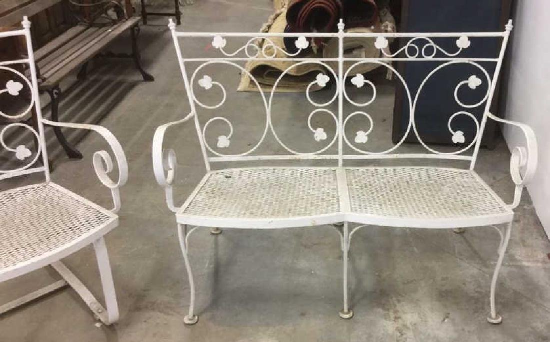 Vintage 3 Pcs White Scrolled Iron Metal Patio Set - 8