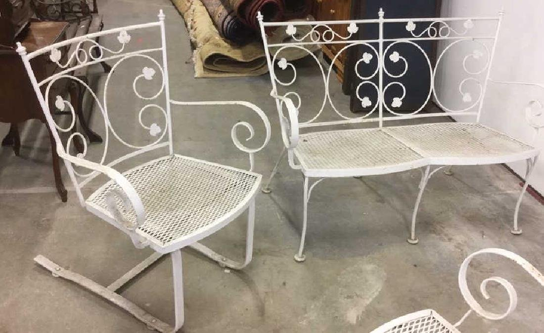 Vintage 3 Pcs White Scrolled Iron Metal Patio Set - 9