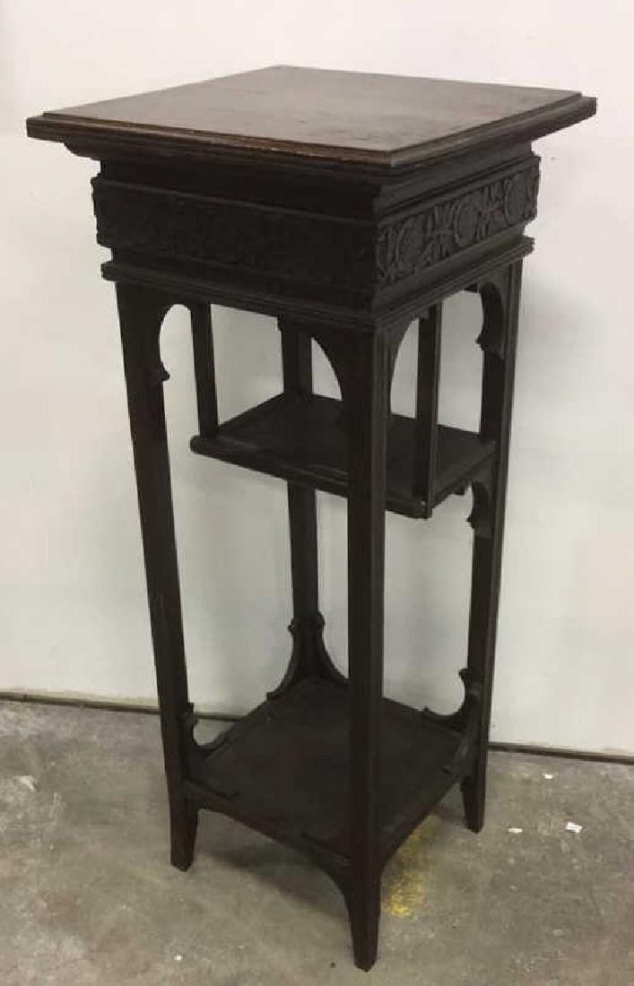 Vintage Antique Carved Arts and Crafts Pedestal