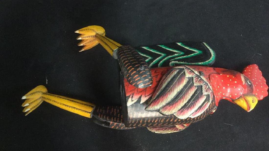 Painted Wooden Jointed Rooster Figure - 6