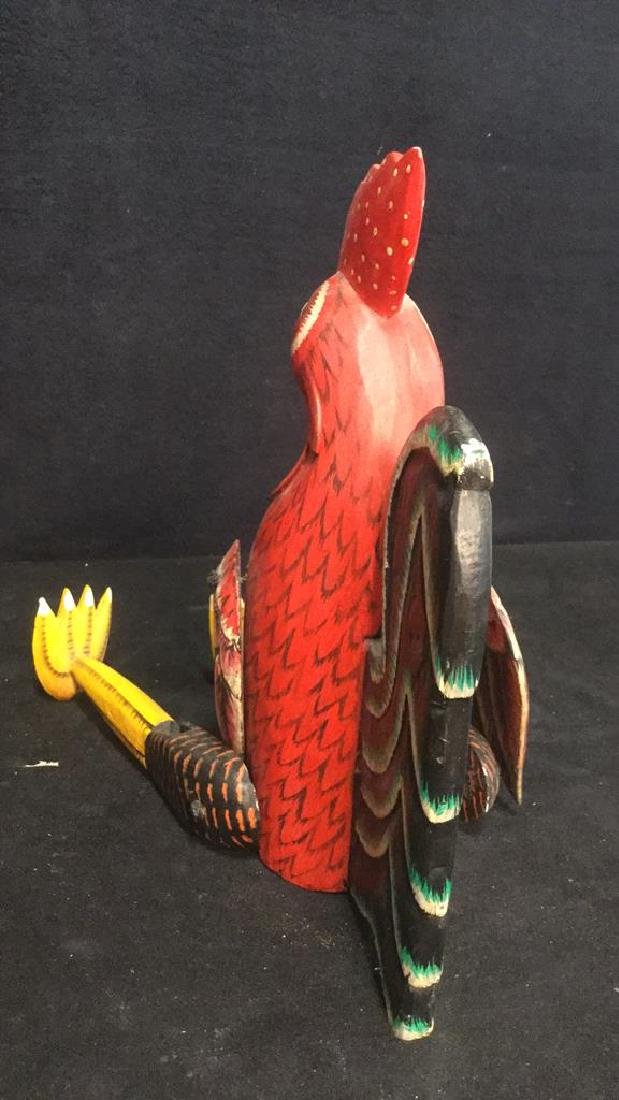 Painted Wooden Jointed Rooster Figure - 8