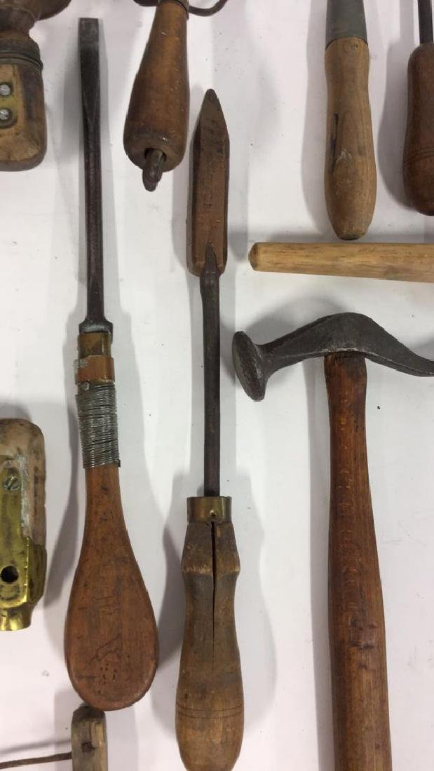 Lot 15 Assorted Wood and Metal Tools, Vintage - 2