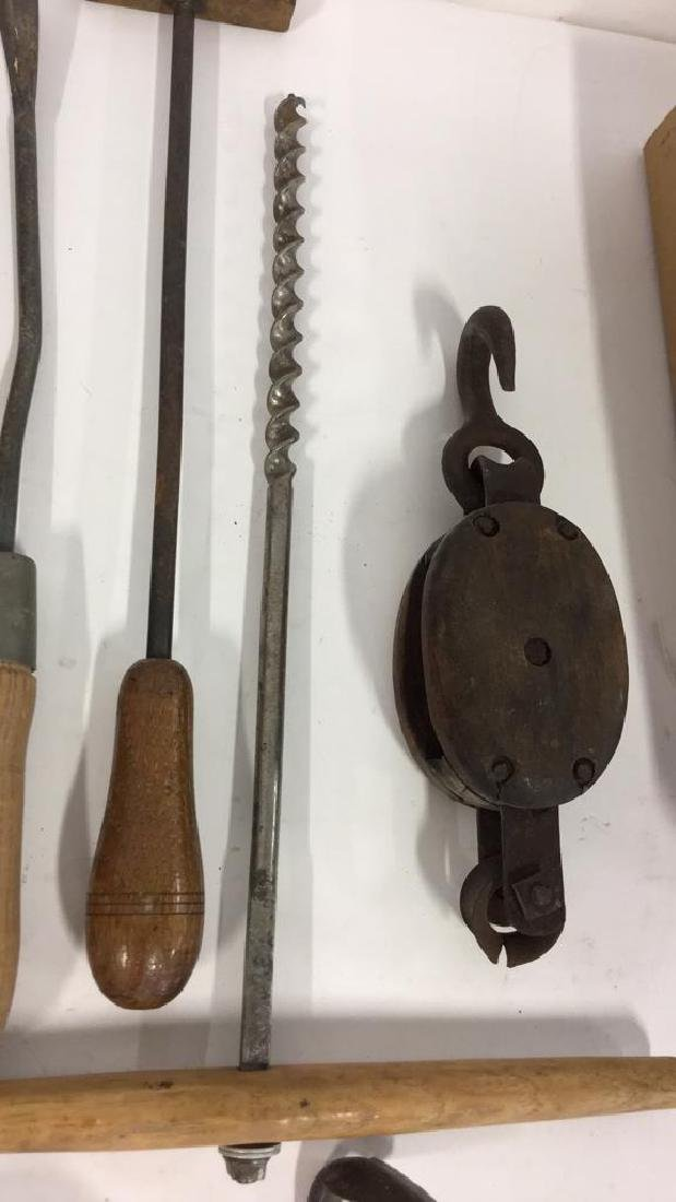 Lot 15 Assorted Wood and Metal Tools, Vintage - 9