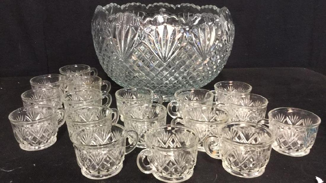 Lot 18 Handmade Pressed Glass Punch Set