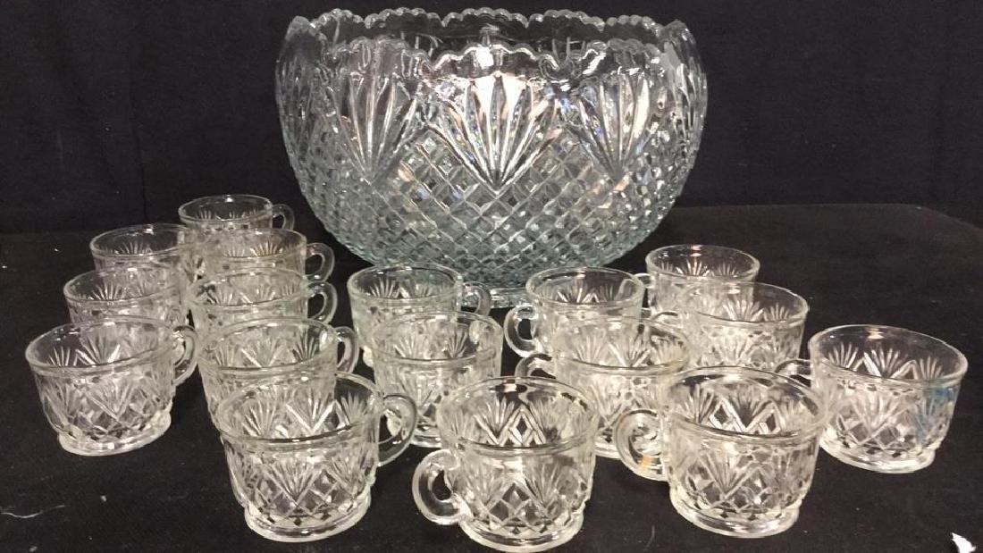 Lot 18 Handmade Pressed Glass Punch Set