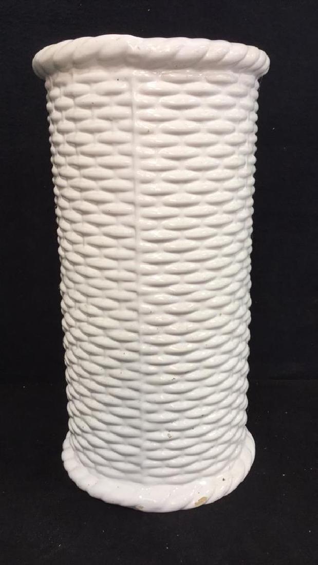 Wicker Basket Style Ceramic Umbrella Stand