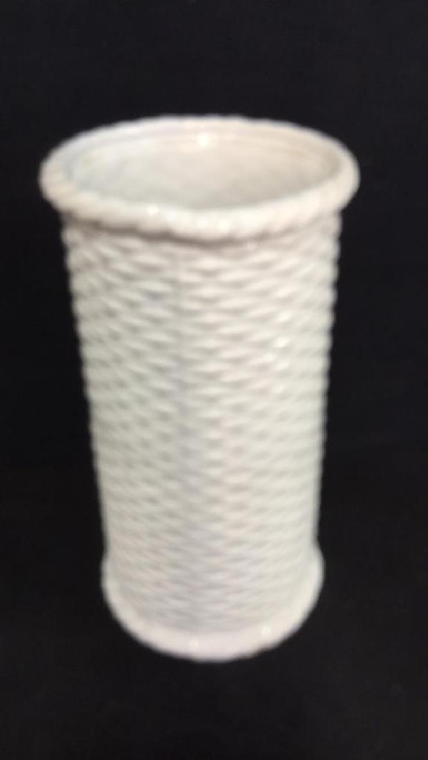 Wicker Basket Style Ceramic Umbrella Stand - 2