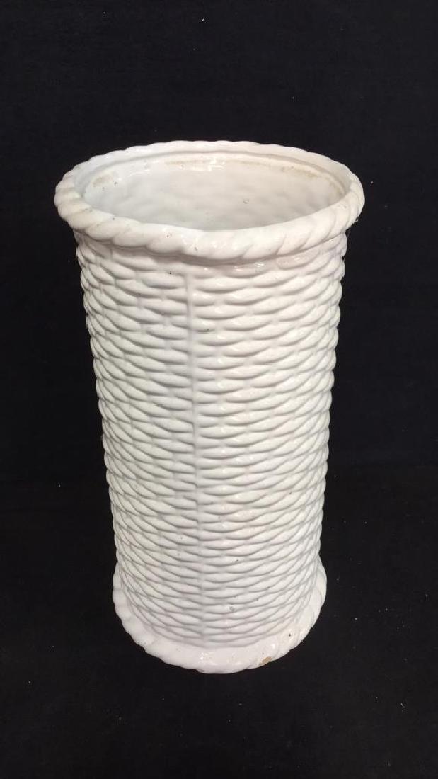 Wicker Basket Style Ceramic Umbrella Stand - 3