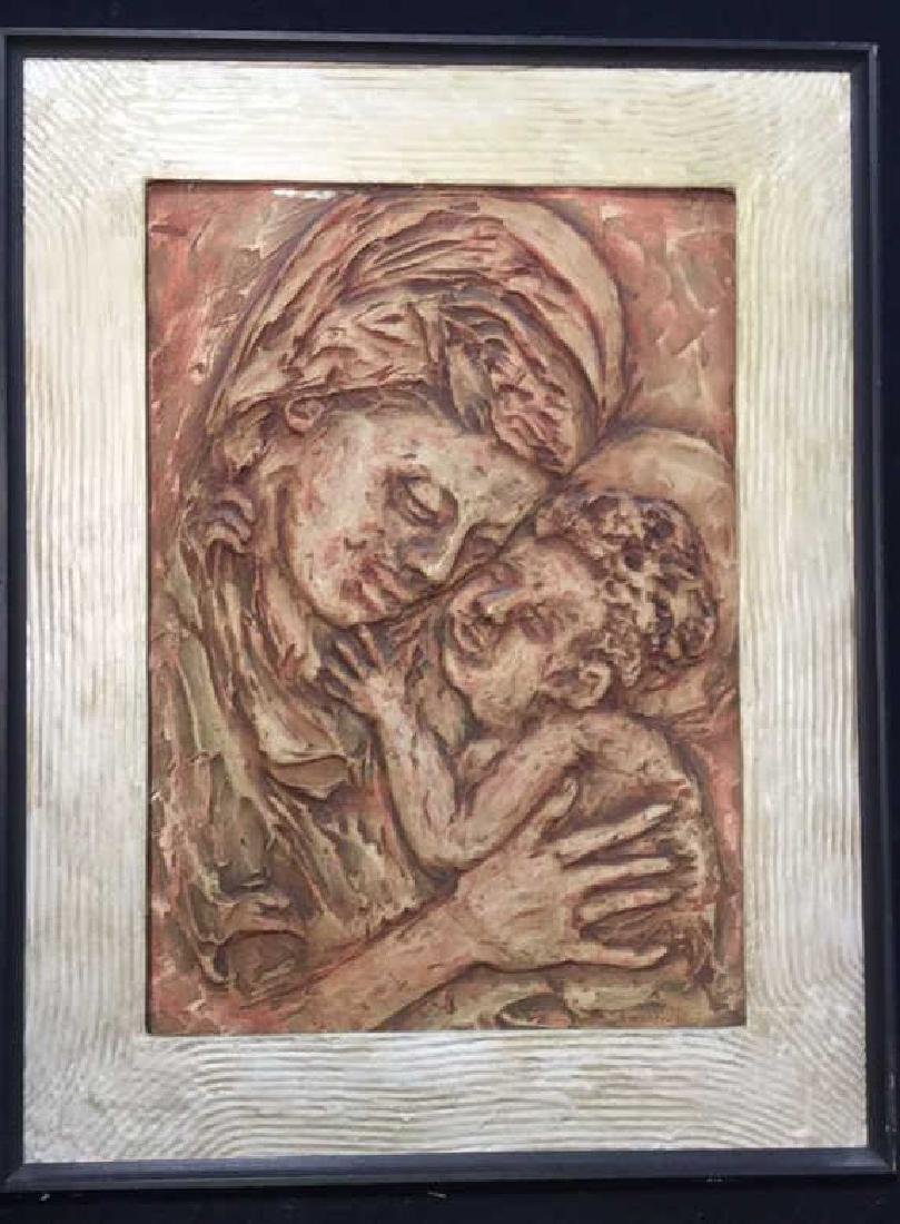 Vintage Plaster Mother and Child Framed Art