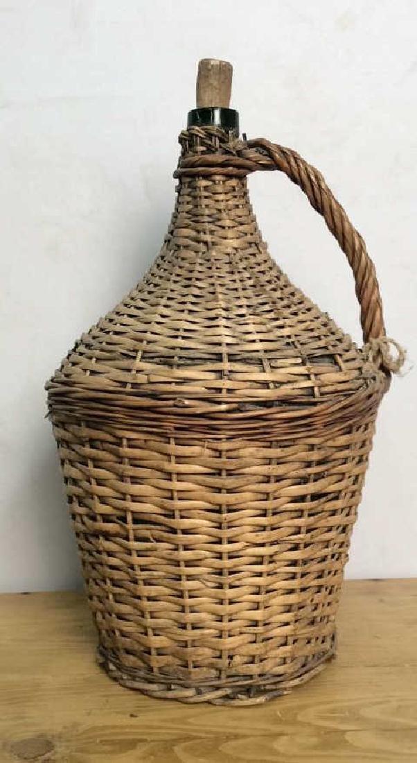 VIntage Whicker Basket Wrapped Jug