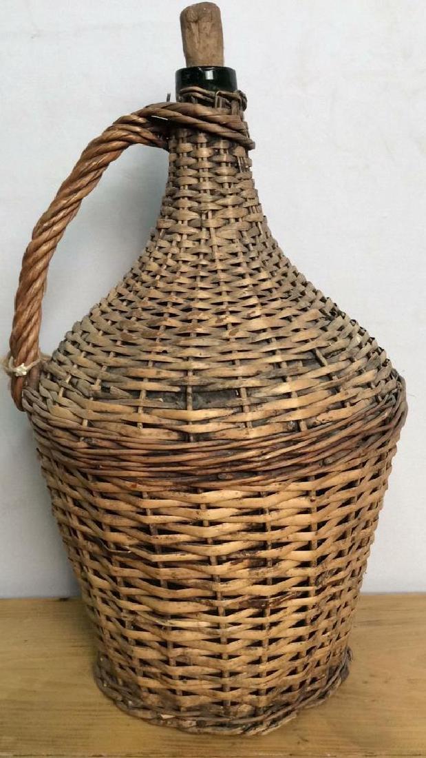 VIntage Whicker Basket Wrapped Jug - 8