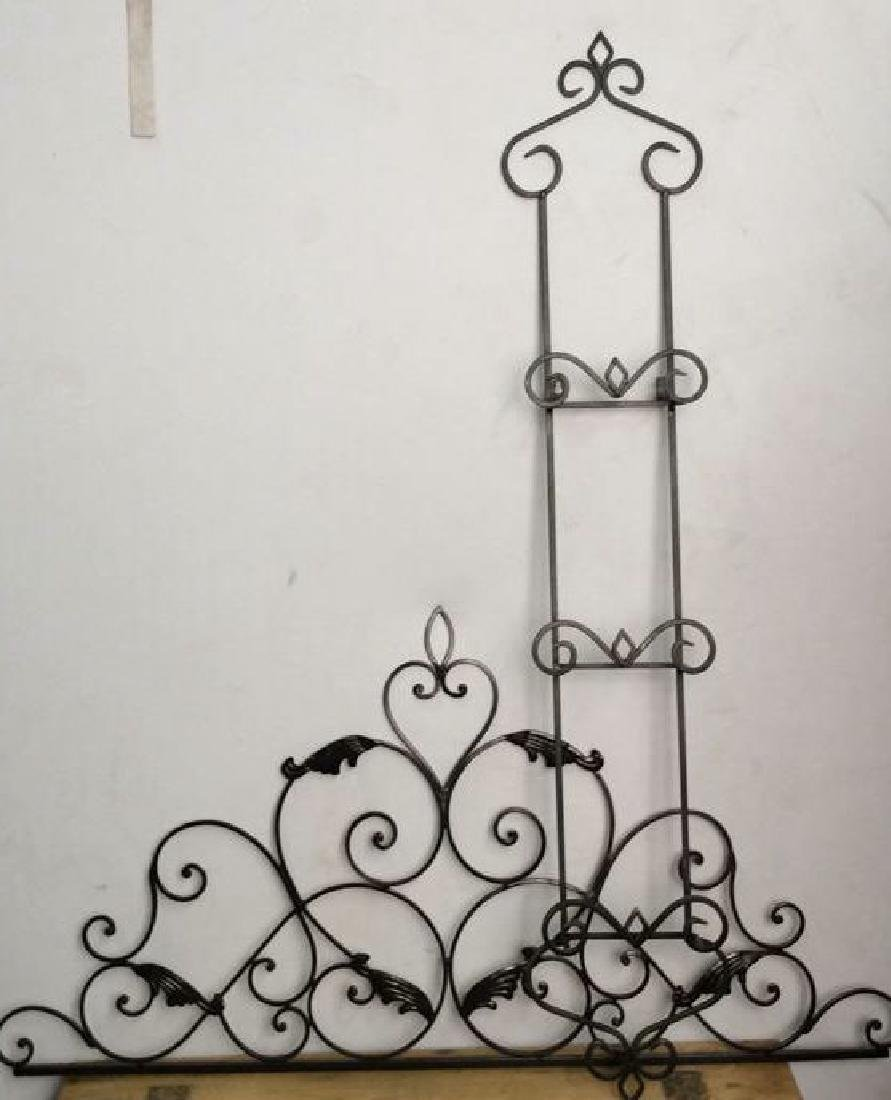 Lot 3 Black Toned Metal Scrollwork Wall Hangings