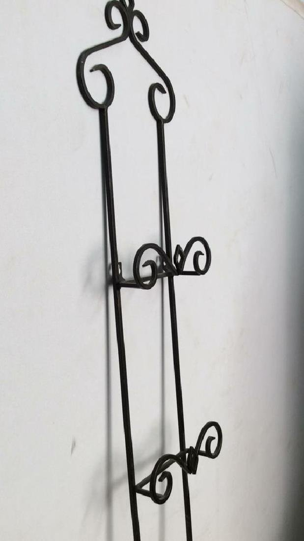 Lot 3 Black Toned Metal Scrollwork Wall Hangings - 7