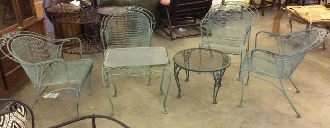 VIntage Set 6 Outdoor Metal Table & Chair Set