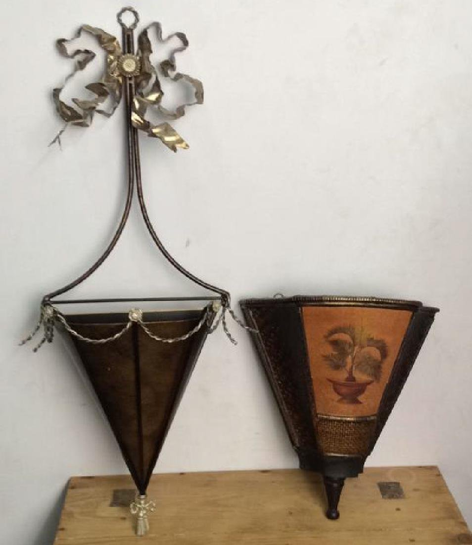 Pair Wall Mount Floral Displays Vessels