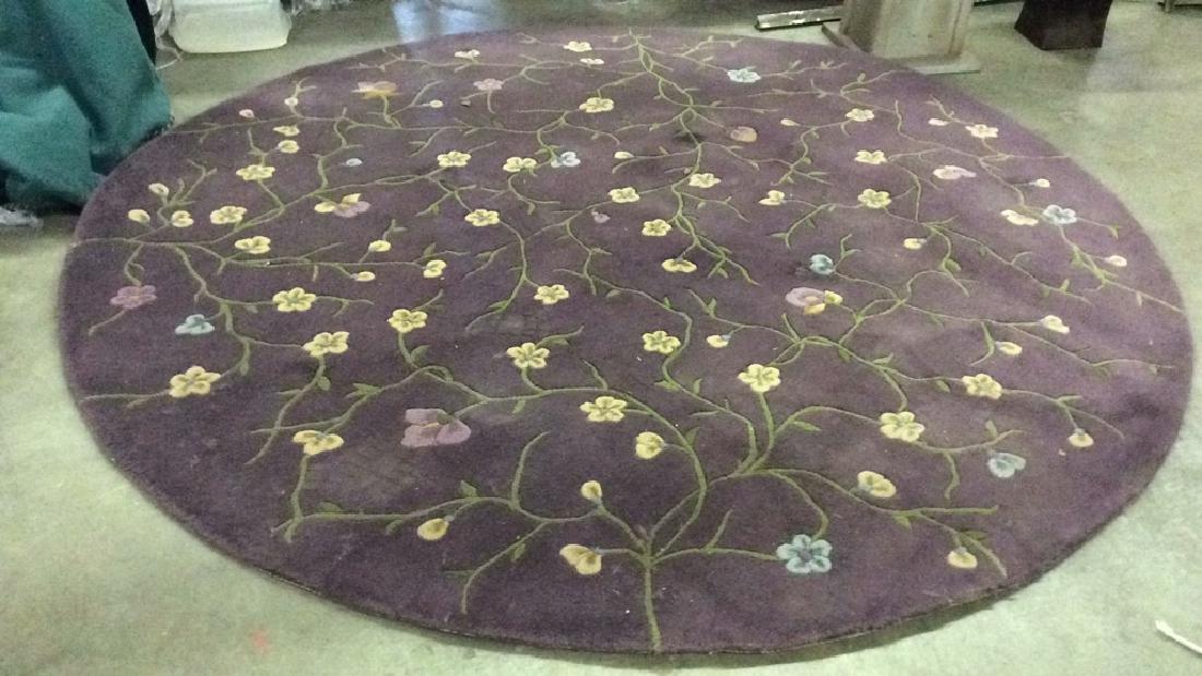 Circular Floral Detailed Wool Rug