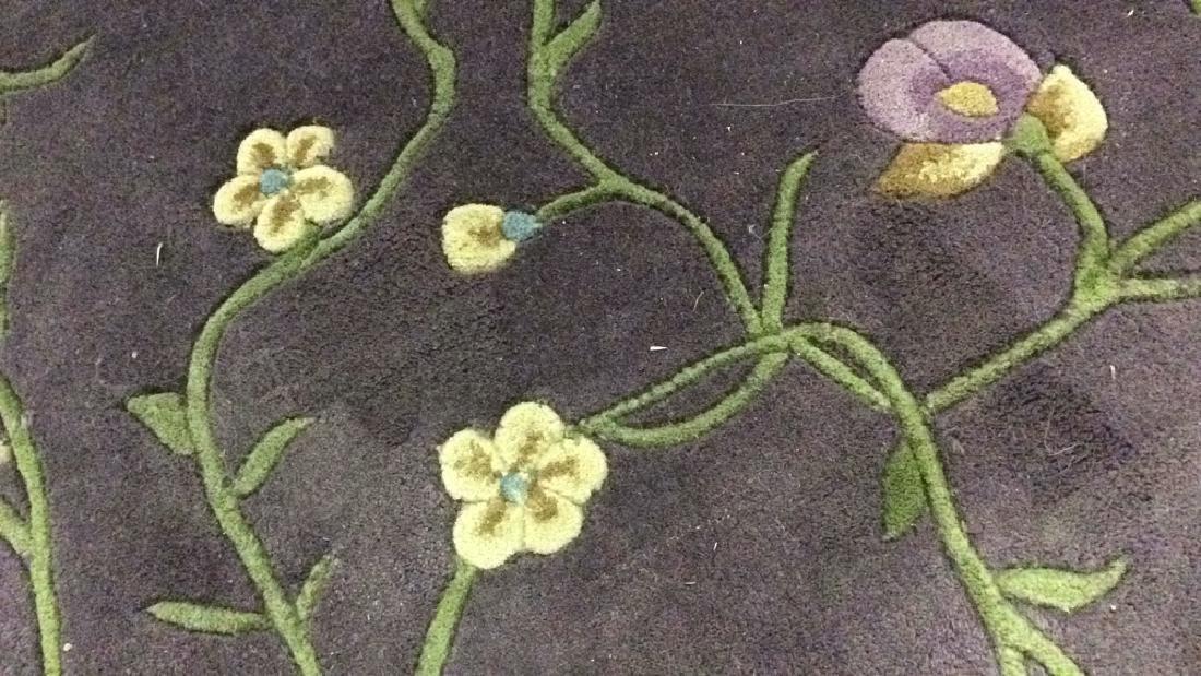 Circular Floral Detailed Wool Rug - 4