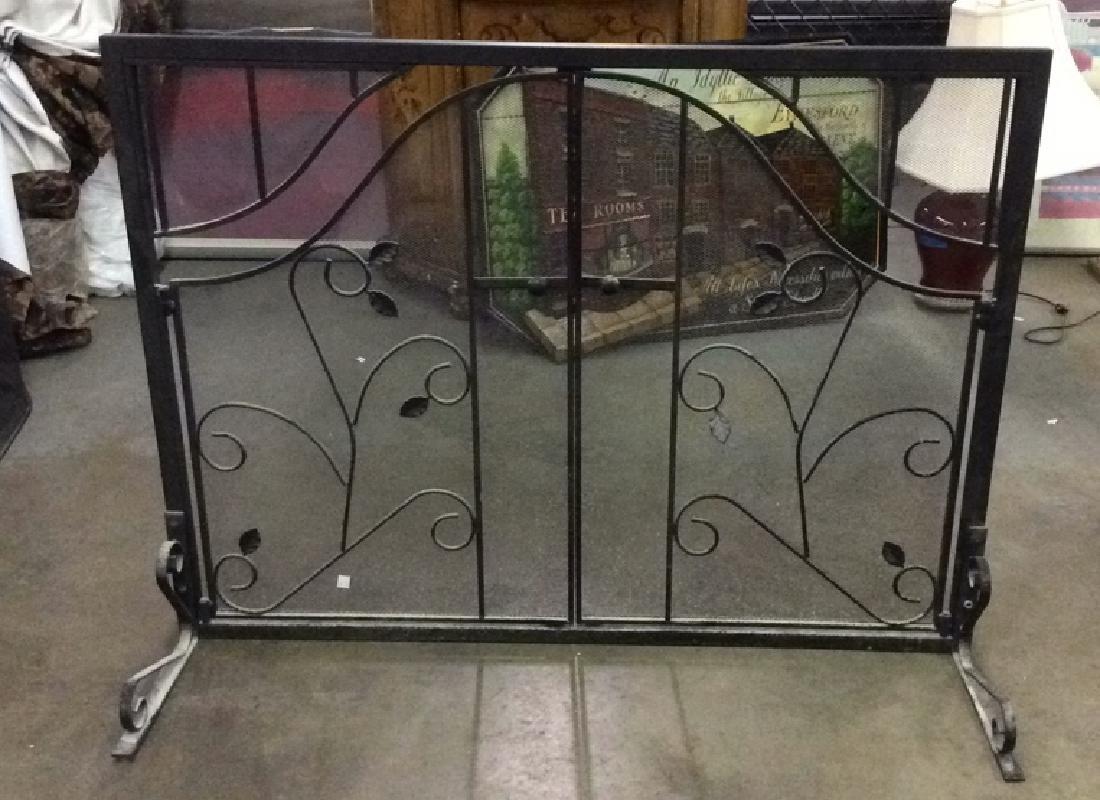 Black Toned Metal Two Door Fireplace Screen