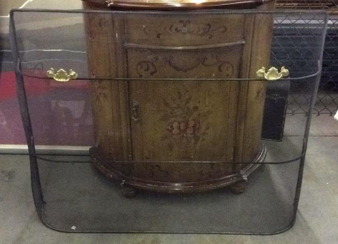 Curved Fireplace Screen W Gold Toned Handles - 2