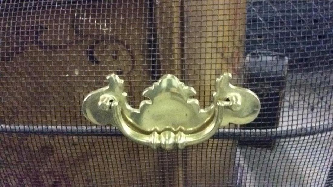 Curved Fireplace Screen W Gold Toned Handles - 3