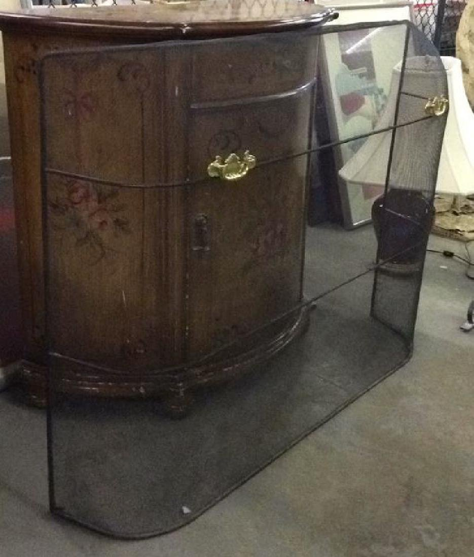 Curved Fireplace Screen W Gold Toned Handles - 4