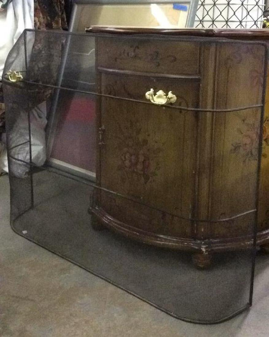 Curved Fireplace Screen W Gold Toned Handles - 5