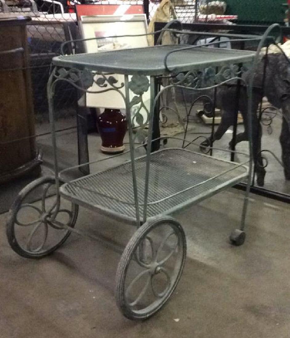 Green Toned Outdoor Metal Bar Cart - 2