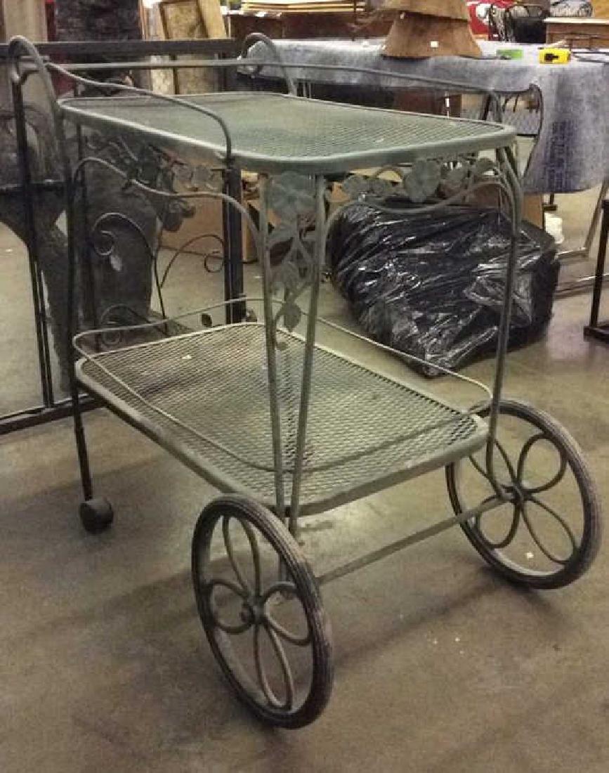 Green Toned Outdoor Metal Bar Cart - 3