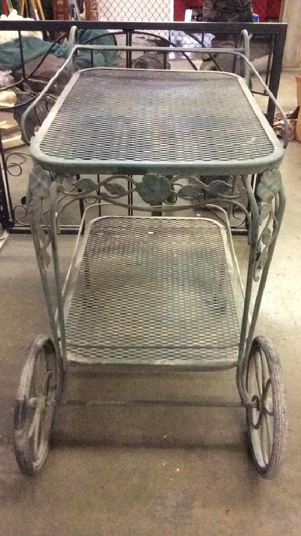 Green Toned Outdoor Metal Bar Cart - 4