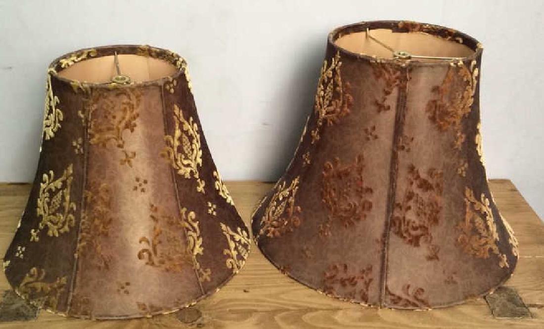 Pair Decorative Custom COpper Toned Lampshades