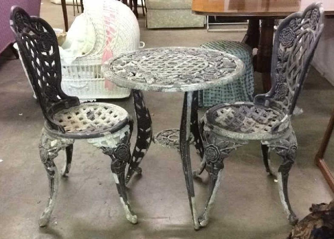 Lot 3 Vintage Metal Iron Patio Furniture